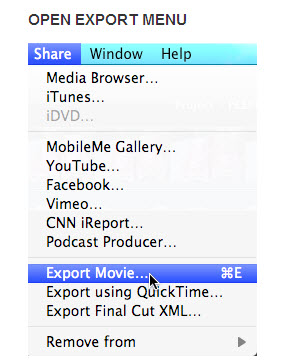 Export video from iMovie'11
