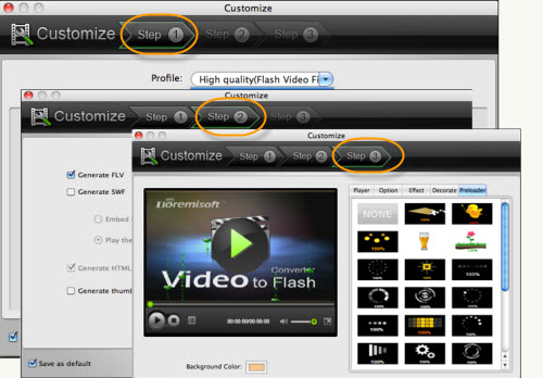 Customize video to flash mac